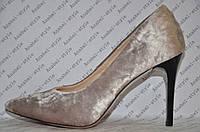 Туфли лодочки женские на шпильке велюр