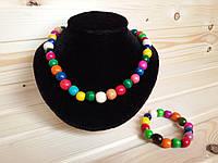 Детские бусы с браслетом из деревянных бусинок 14 мм, разноцветные
