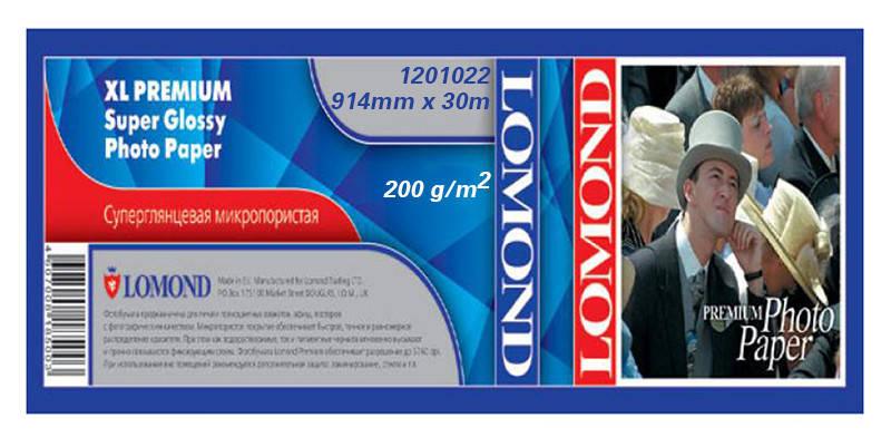 Бумага Lomond для струйных принтеров, Premium суперглянцевая, 200 г/м2, 914 мм х 30 метров