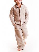 Детский льняной модный костюм пиджак и брюки. Цвет Белый, бежевый, синий, черный, фото 1