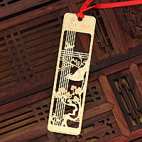 Закладка для книги металл Птица на сакуре