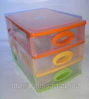 Комод пластиковый канцелярский (3 ящика) Цветной