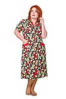 Трикотажный женский халат с цветочным принтом 50-60