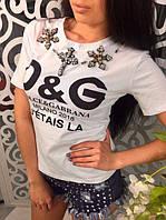 Женская футболка с украшением 887727