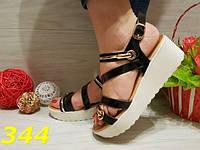 Босоножки на платформе черные с золотом, балетки, женская молодежная летняя обувь