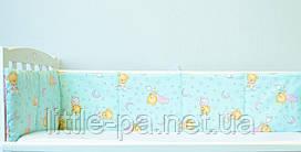 Защитные бамперы для кроватки детской «Мишки» (бирюза/розовый)