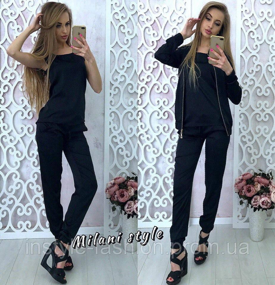 Женский костюм тройка ткань шелк армани цвет черный
