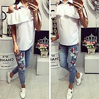 Стильная летняя блузка с вышивкой В20214