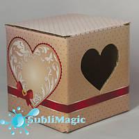 Подарочная упаковка для чашки гофракартонная с окном-сердце Розовая