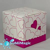 Упаковка подарочная для чашки с принтом (сердце) Розовая