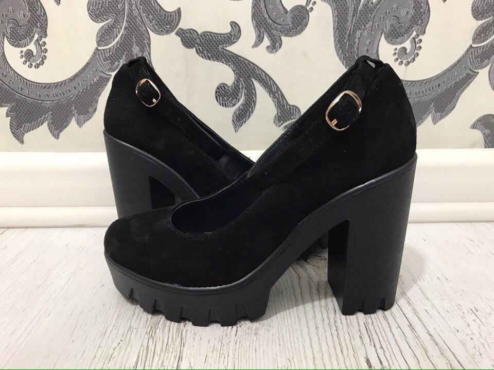 5f8ea6e33 Модные туфли на толстом каблуке. Материал: натуральная кожа/натуральная  замша. Высота каблука ...