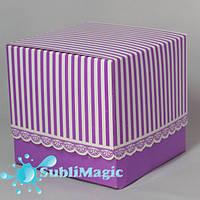 Подарочная упаковка для чашки с принтом фиолетовая в полоску