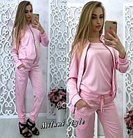 Женский костюм тройка ткань шелк армани цвет розовый