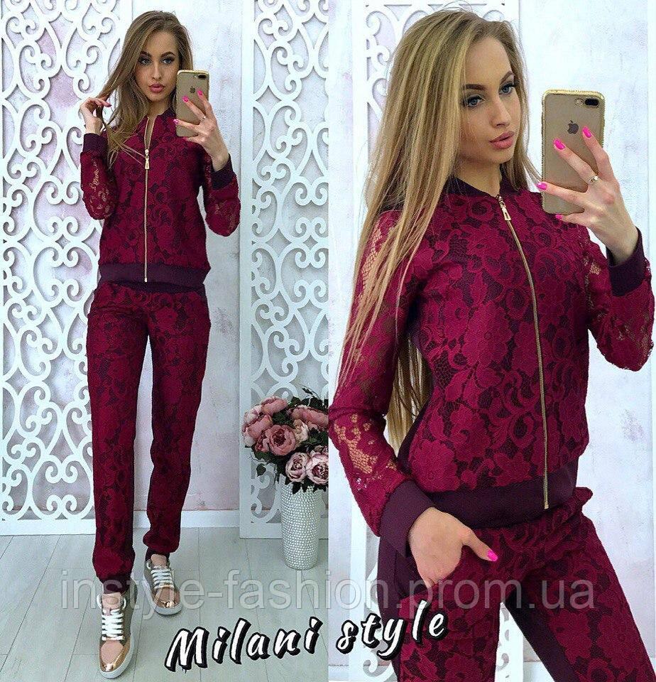 Женский костюм ткань полированный джерси+гипюр цвет бордовый