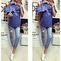 Стильная летняя джинсовая женская блузка с вышивкой В20215
