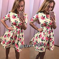 Платье цветастое с фатиновым подъюбником 549(три цвета)