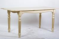 Стол раскладной Венеция 140х85 слоновая кость с патиной
