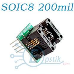 Переходник-адаптер ZIF 200mil, с нулевым усилием, SOIC8 - DIP8