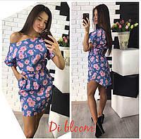Женское красивое джинсовое платье с принтами (4 цвета)