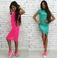 Женское гипюровое платье короткий рукав