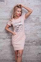 Молодежное женское летнее платье с короткими рукавами из вискозы