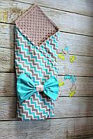 Детский конверт - одеяло (80х80см, весна-осень, подкладка-синтепон+плюш)