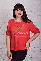 Женская весенняя блузка красного цвета от производителя 2017 - (код бл-49б), фото 1