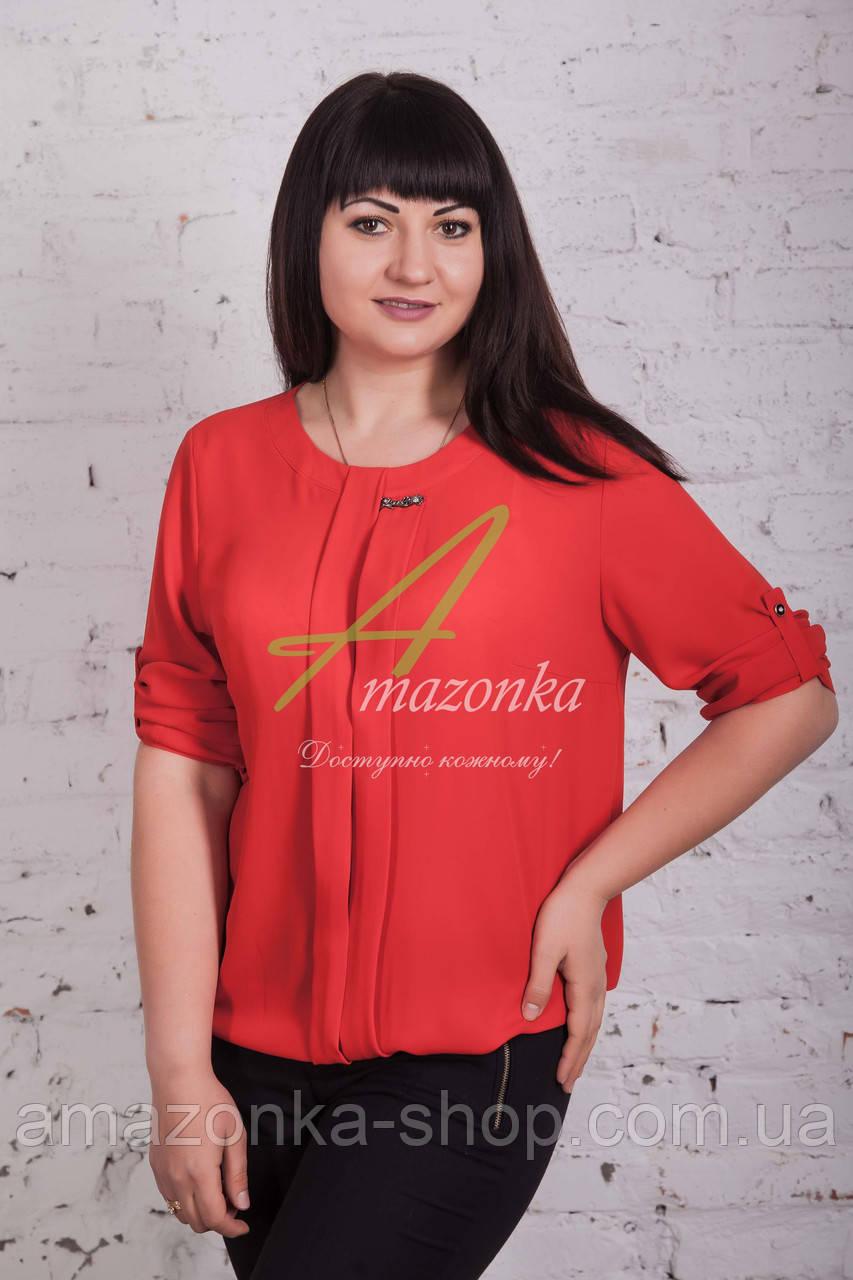 Женская весенняя блузка красного цвета от производителя 2017 - (код бл-49б)