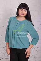 Женская весенняя блузка голубого цвета от производителя 2017 - (код бл-49с)