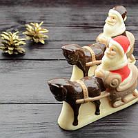 """Новогодняя шоколадная фигура """"Дед Мороз на санях"""" класик.Размер 117х122х37,вес 160гр 4/2"""