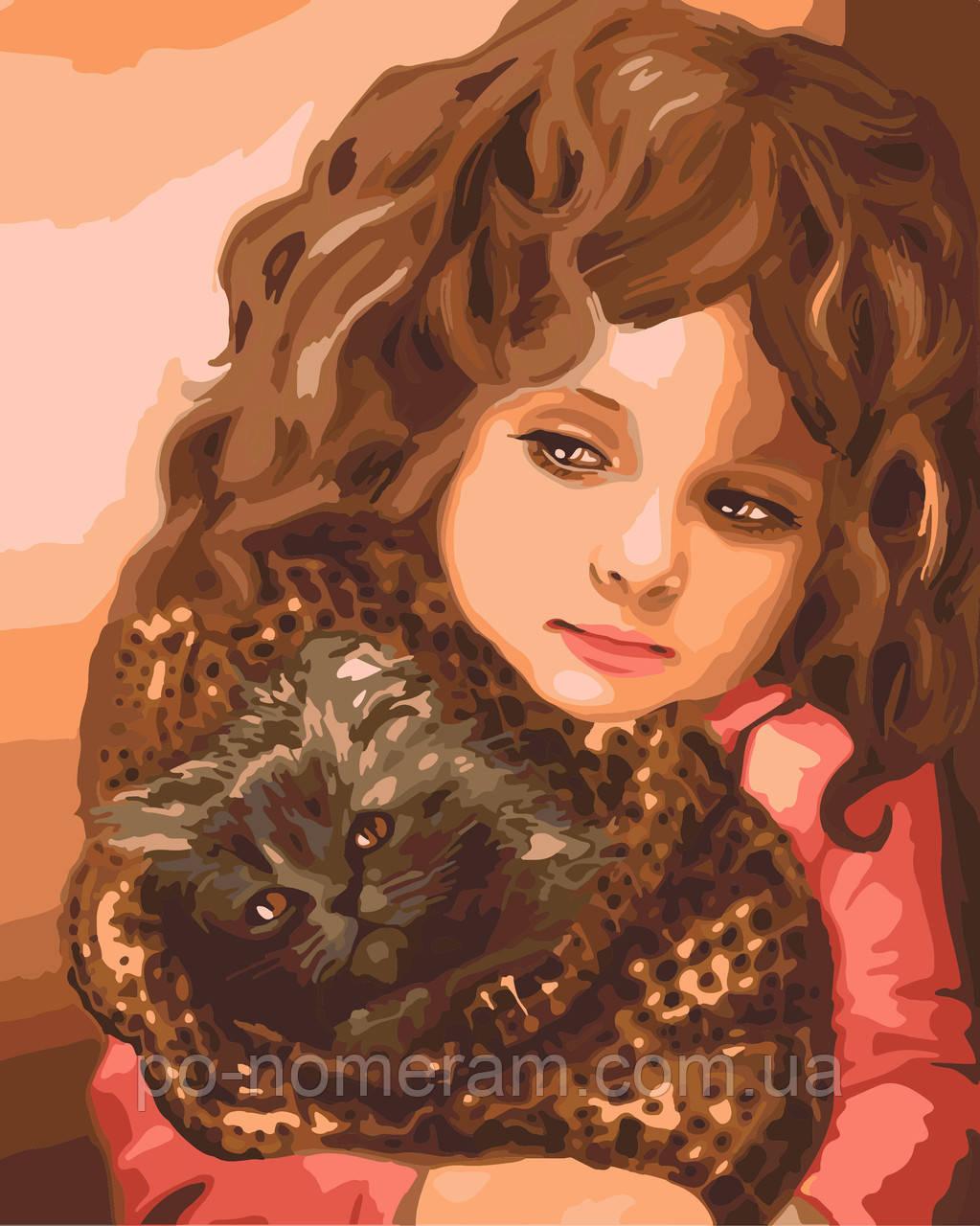 Раскраска по номерам Идейка Малышка с котенком (KH2307) 40 ...