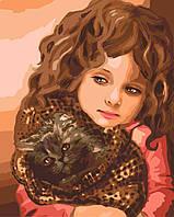 Раскраска по номерам Идейка Малышка с котенком (KH2307) 40 х 50 см
