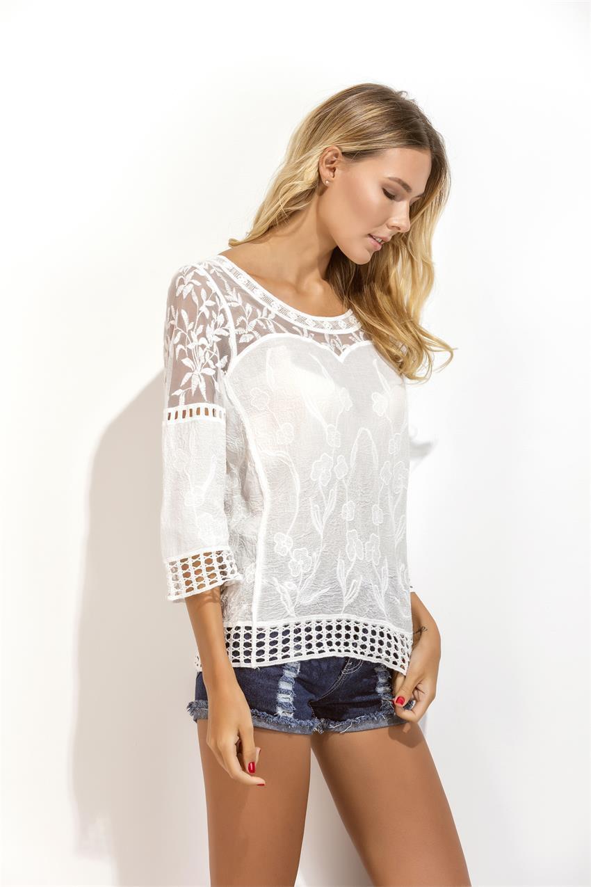 Женская блуза с ажуром СС7118