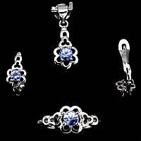 Танзанит, серебро 925, кольцо, кулон и серьги комплект, 029НТ