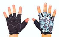 Перчатки спортивные SCOYCO ВG14-BKBL (PL, PVC, лайкра, открытые пальцы, р-р S-XXL, черный-голубой)