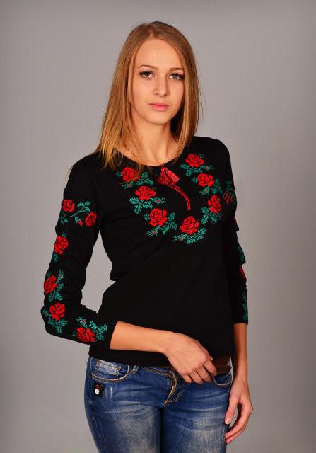 Сем роз футболка вышиванка с длинным рукавом