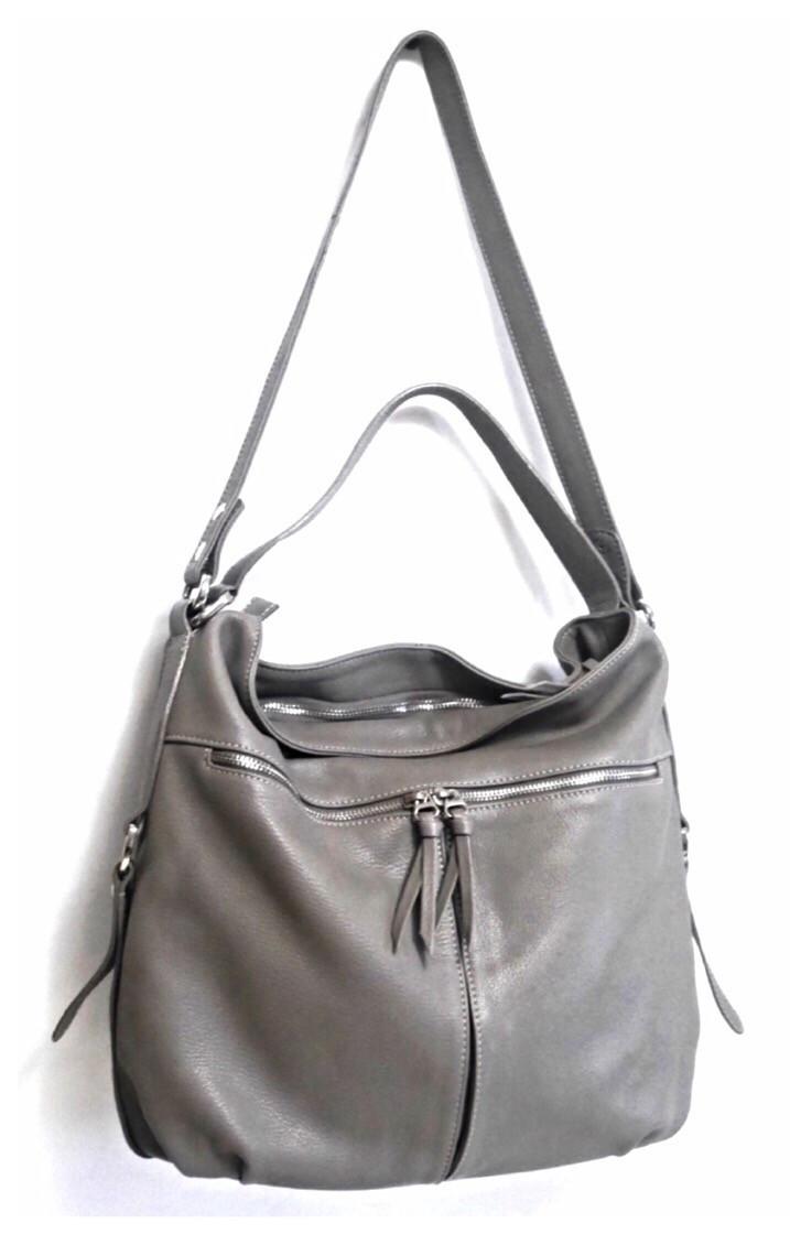 a59c73bb8265 Borsa Donata - Серая кожаная сумка со змейкой на всю ширину сумки. -  Интернет-