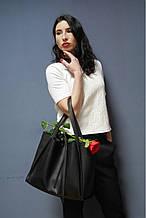 S.Mobi Flora  (black) - Черная кожаная сумка 2 в 1 (шоппер + сумочка через плечо)