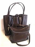 S.Mobi Flora  (choco) - Кожаная сумка 2 в 1 шоколадного цвета (шоппер + сумочка через плечо)