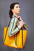 S.Mobi Flora  (yellow and choco) - Жёлтая кожаная сумка 2 в 1 с ручками шоколадного цвета (шоппер + сумочка через плечо)