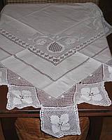 Красивая,нарядная,белая скатерть с вязаным кружевом ручной работы