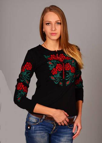 Пары роз футболка вышиванка трикотажная с длинным рукавом, фото 2