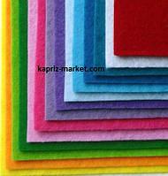 Фетр 1 мм А4( 20х30 см), цвета в ассортименте,
