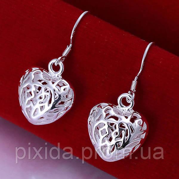 Сережки сердечки резные 925 серебро проба