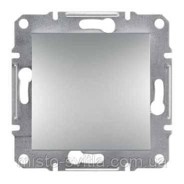Вимикач 1-клавішний кнопковий алюміній Sсhneider Eleсtriс Asfora Шнайдер Асфора