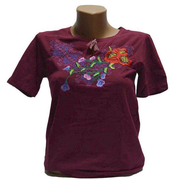 Виолетта бордовая футболка с вышивкой