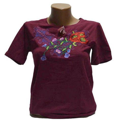 Віолетта бордова футболка з вишивкою, фото 2