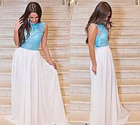 Женское модное платье в пол с кружевом (6 цветов), фото 1