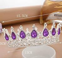 Круглая корона в серебре с фиолетовыми камнями, диадема, тиара, высота 5,5 см.