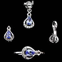 Танзанит, серебро 925, кольцо, кулон и серьги комплект, 030НТ